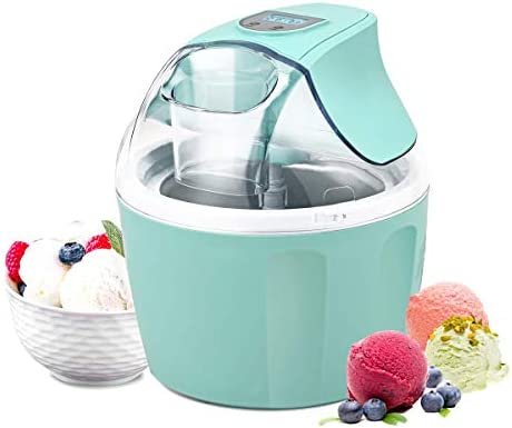 Costway Ice Cream Maker 1.5 Quart Automatic Macarons Color Ice Cream Machine, custard Frozen Yogurt Sorbet Gelato Machine with Auto Shut Off Timer, LCD Display and Mixing Paddle for Soft Serve Dessert Green