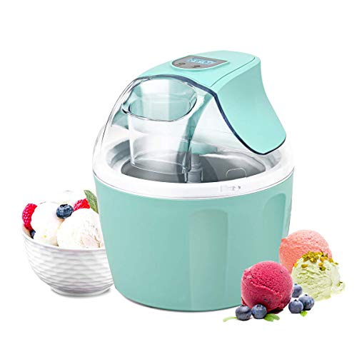 Costway Ice Cream Maker 1.5 Quart Automatic Macarons Color Ice Cream Machine, custard Frozen Yogurt Sorbet Gelato Machine with Auto Shut Off Timer, LCD Display and Mixing Paddle for Soft Serve Dessert(Green) (Frozen Custard Machine)