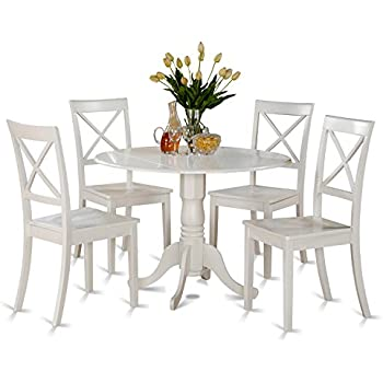East West Furniture DLBO5 WHI W 5 Piece Kitchen Table Set, Linen