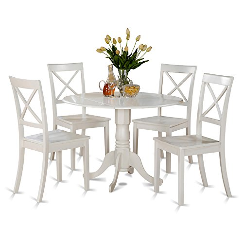 East West Furniture DLBO5-WHI-W 5-Piece Kitchen Table Set, Linen White Finish (Round Dinette)