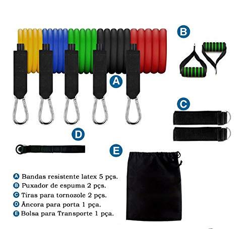 Kit Elástico Extensor 11 Peças Treinamento Pilates Fitness