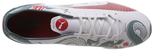 Puma evoSPEED 4.3 Graphic FG - zapatillas de fútbol de material sintético hombre blanco - Weiß (white-sea pine-high risk red 01)