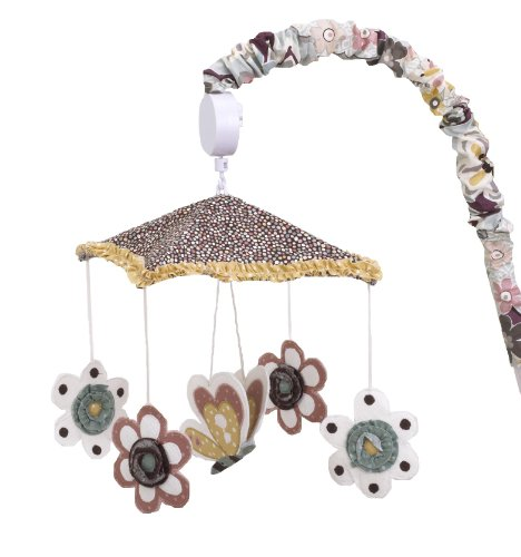 Cotton Tale Designs 100% Cotton Penny Lane Multi Colored Floral & Polka Dots with Flowers & A Butterfly Under Mosaic Dot Ruffle Canopy Musical Mobile with Floral Arm - Mobile Dot