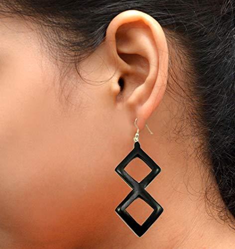 A Pair of Black Coconut Earrings Coconut Wood Wooden Boho Hippie Earrings