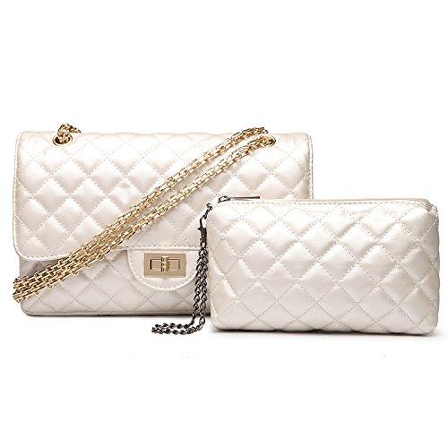 Femmes Mode Sac Matelassé White3 Sac Lock Plaid à Chaîne Twist Or Sac Bandoulière Main En épaule Grand rTxCnrwq