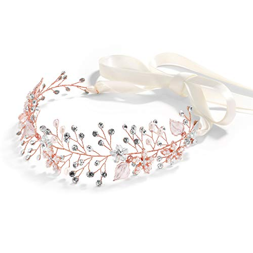 Mariell Rose Gold Freshwater Pearl and Crystal Bridal Hair Vine Ribbon Headband