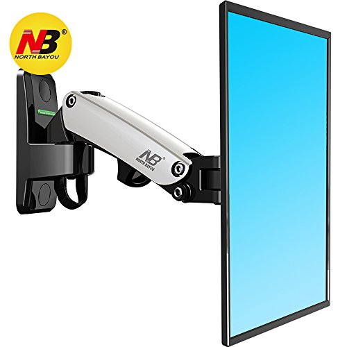 North Bayou TV Monitor Wall Mount Bracket with Full Motion Articulating Swivel and Gas Spring for 17-27 Inch Flat Panel Displays (silver-single extension) - Flat Panel Monitors Gaming