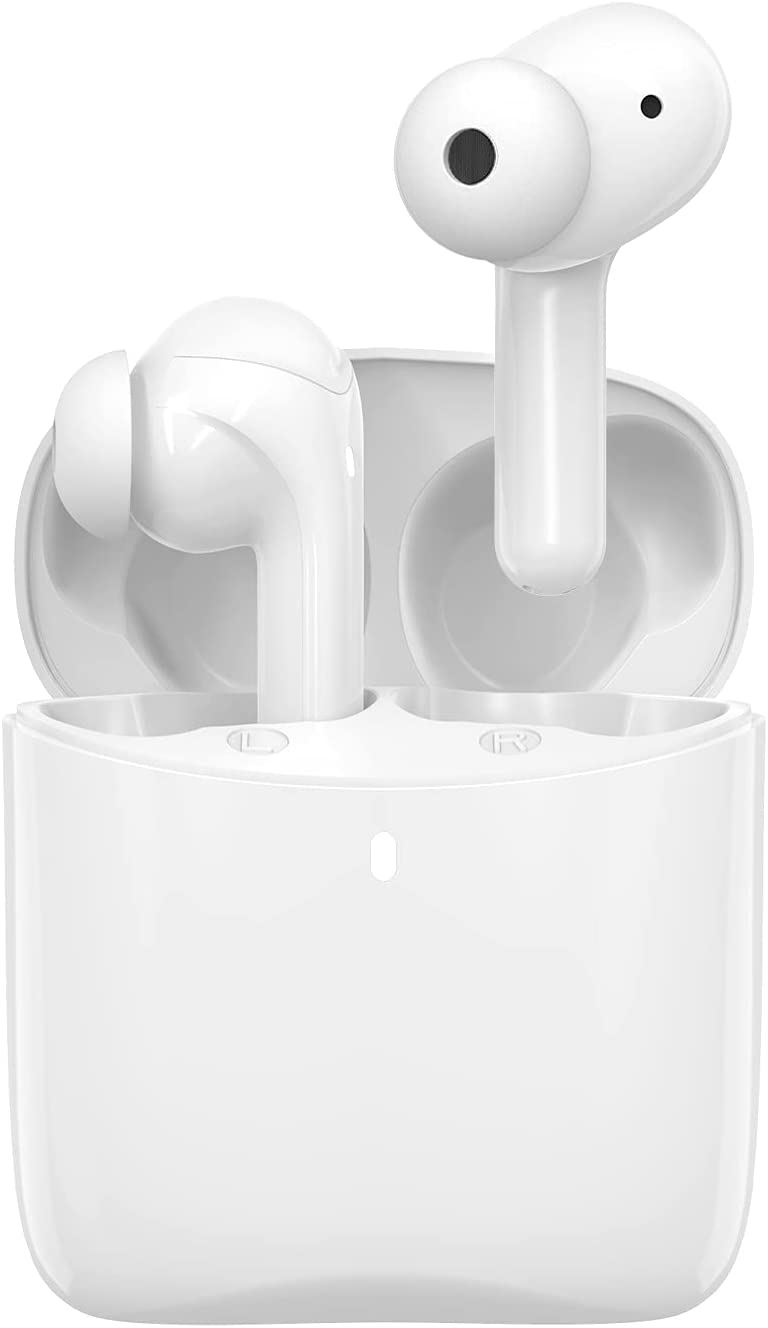 Otium Wireless Earbuds Bluetooth 5.1 Headphones Bluetooth Earbuds Hi-Fi Stereo Sound Deep Bass Noise Cancelling 30H Playtime in-Ear with Built-in Mic for Work/Travel/Gym (White)