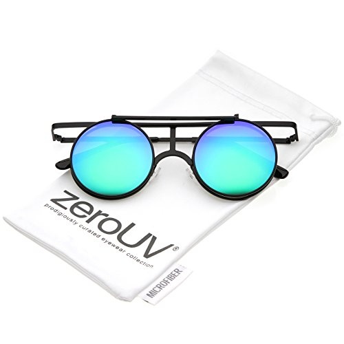 zeroUV - Steampunk Flip Up Cover Flat Top Colored Mirror Clear Lens Round Sunglasses 44mm (Black / Green - Sunglasses Cover Cheap