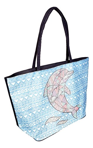 Price comparison product image Stained Glass Design with Aztec Stripe Beach Bag Tote (Blue Dolphin)