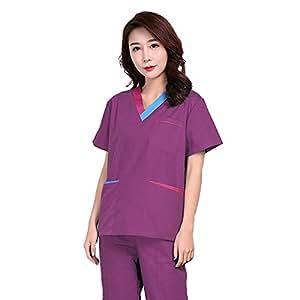 OPPP Ropa médica Mujeres con Cuello en v de Manga Corta Hospital médica Matorrales Conjunto de Matorrales Dental salón de Belleza Enfermera Uniforme Camisa: ...