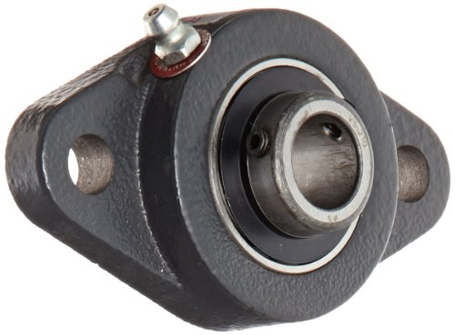 Browning VF2S-210 Normal-Duty Flange Unit, 2 Bolt, Setscrew Lock, Regreasable, Contact and Flinger Seal, Cast Iron, Inch, 5/8