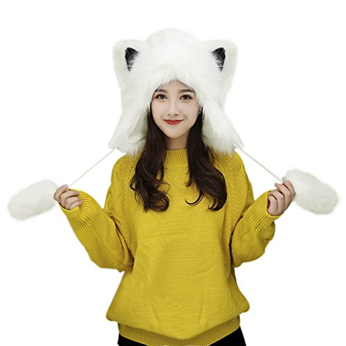 Fox Fur Earmuff Winter Hats for Women Girls Thermal Fluffy Furry Fur Ear Warmers Earflap Outdoor Running Motorcycling Snow Skiing Cap Insulated Cold Weather Headbands Party Costume Gift (White)