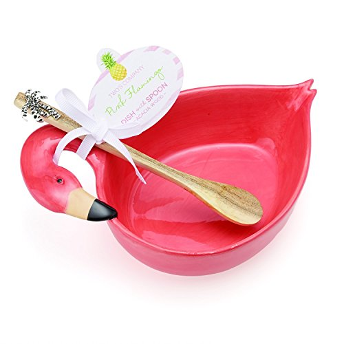 Two's Company Flamingo Dish with Acacia Wood Spoon-ceramic/Wood, , Pink - Dish Flamingo Soap