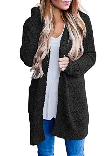 ZESICA Women's Casual Long Sleeve Open Front Sweater Chunky Knit Cardigan Outwear with Pockets Black
