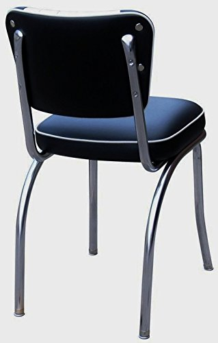 Richardson Seating Two Tone Channel Back Retro Diner Chair with 2 Box Seat, Black White, 18