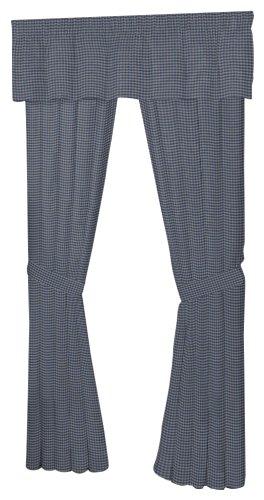 Patch Magic 40-Inch by 80-Inch Bed Curtain, Blue And Ecru Gingham Checks (Ecru Gingham Checks)