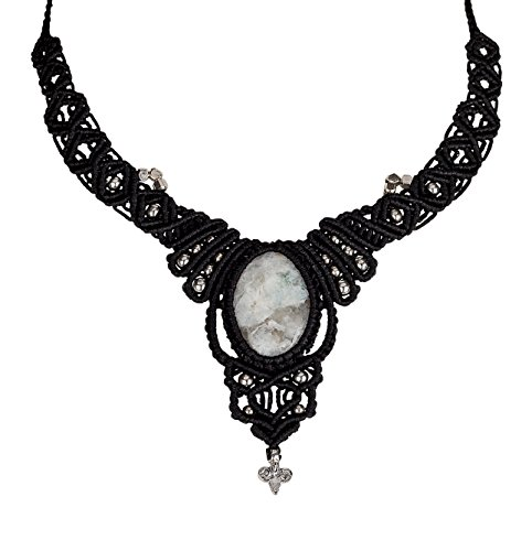 SPUNKYsoul Handmade Macramé Woven Necklace with White Moonstone Crystal Pendant in Silver for Women Collection
