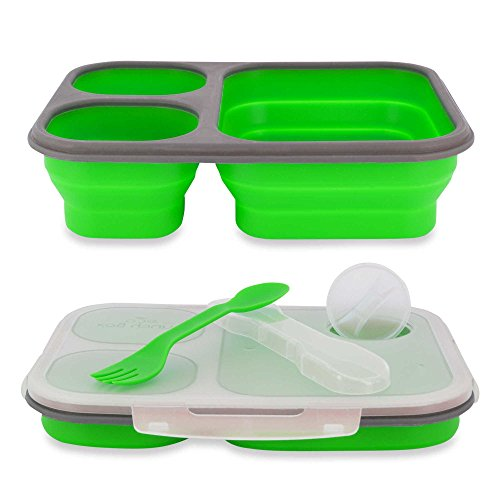 Green Condiment Holder (1 Piece Green 3 Compartments Lunch Kit with Condiment Holder, Best For Hiking & Outdoor Activities, Lunch Box For School Kids, Features Eco- Friendly, Extra Space for Food, Easy Clean, Plastic)