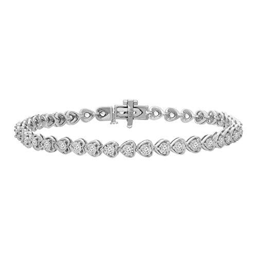Diamond Cut Heart Link Bracelet - Sterling Silver Rose-cut Diamond Certified Heart Link Tennis Bracelet (1.00 cttw, I-J color, I3 clarity)