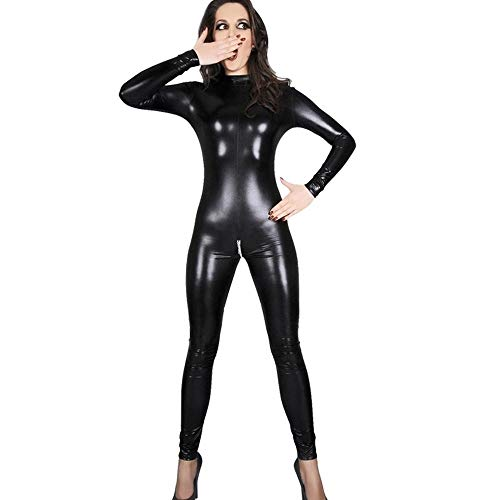 WWC Lenceria Sexy para Mujer de imitacion de Cuero del Club Nocturno Mono Mono Adulto latex PVC Catsuit Cremallera Abierta erotica Desgaste-L (M)