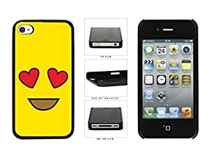 Bright Yellow Heart Eyes Smiley Face Plastic Phone Case Back Cover Apple iPhone 4 4s by icecream design