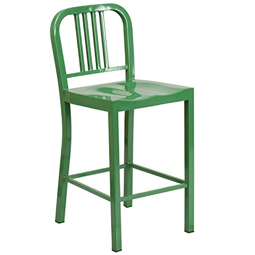 Flash Furniture 24'' High Green Metal Indoor-Outdoor Counter Height Stool by Flash Furniture