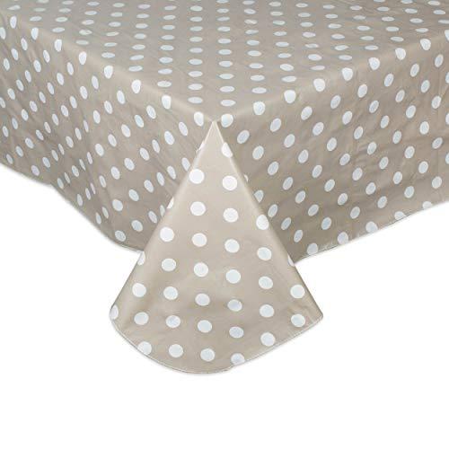 DII Tablecloth Vinyl Table Top, 60 x 102, Beige & White Polka Dot