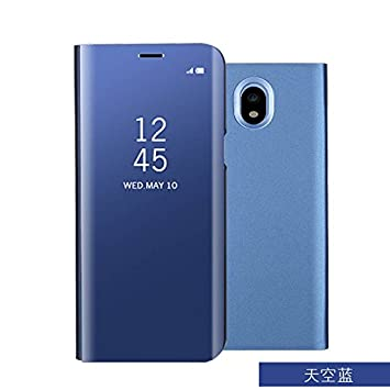 Meimeiwu Modelo inteligente Fecha - Hora Ver Espejo Funda de espejo Flip Case Carcasa para Samsung Galaxy J7 2017(European version) - Azul