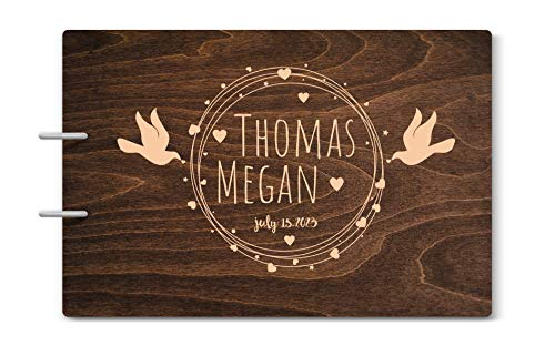 Custom Engraved Wooden Rustic Wedding Guest Book - Personalized Monogrammed - 01 Chocolate ()
