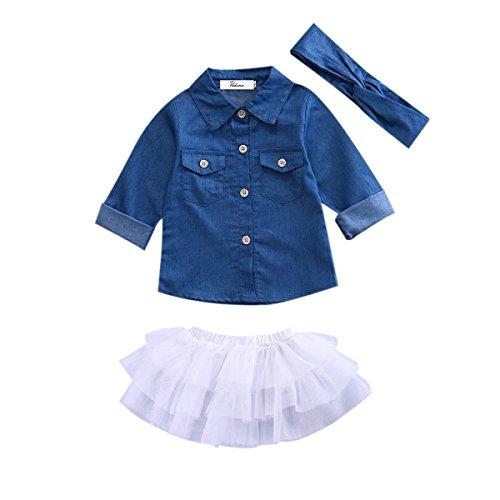 Newborn Kids Baby Girls Jeans Denim Tops Shirt + Tutu Skirts Dress + Headband 3pcs Outfits Clothes (Denim Girls Top)