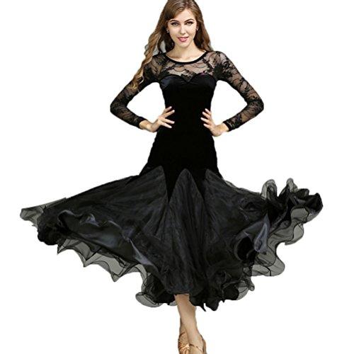 Tulle Black Velours Entraînement De Danse Wqwlf xl Longues Épissage Robes Dentelle Manches Femmes Performance qxSwf1Z