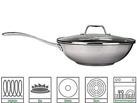 Royal VKB - Olla tipo wok con tapa de cristal (28 cm, acero inoxidable