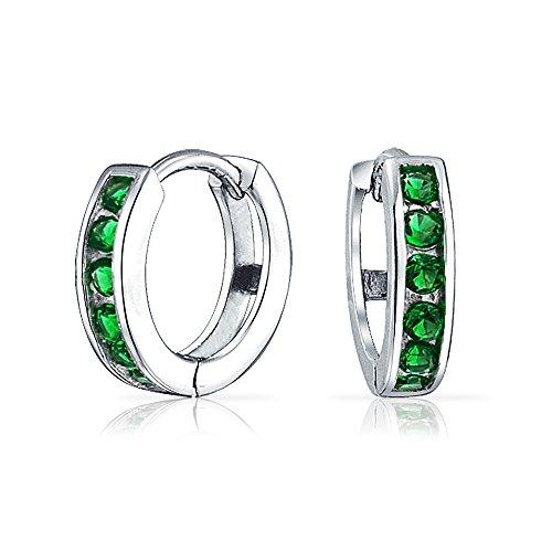 Earrings Huggie Green (Green Cubic Zirconia CZ Channel Set Small Kpop Huggie Hoop Earrings For Women Simulated Emerald 925 Sterling Silver)