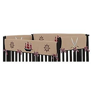 Sweet Jojo Designs 2-Piece Treasure Cove Pirate Teething Protector Cover Wrap Baby Crib Side Rail Guards