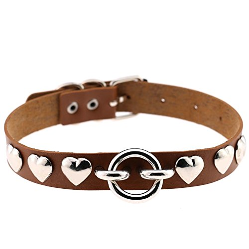 FM FM42 Brown Heart Rivets O Ring PU Simulated Leather Necklace Neckband Buckle Choker PN1831 - O-ring Rivet