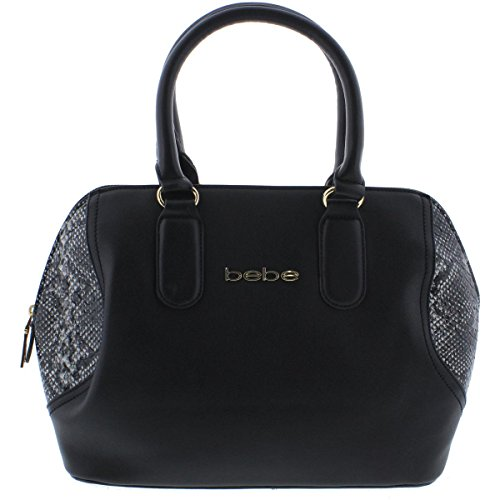 bebe-womens-roxanne-faux-leather-lined-satchel-handbag-black-medium