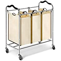 LANGRIA Heavy Duty Laundry Hamper Stand Rolling Laundry Sorter Cart with 3 Durable Detachable Bags, 4 Casters and Anti-Slip Handles (Capacity 75 lbs, Chrome, Beige Bag)