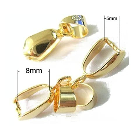 Pack of 20 x Golden Plated Brass 20mm Ice Pick Pinch Bails For Pendants Charming Beads HA07615