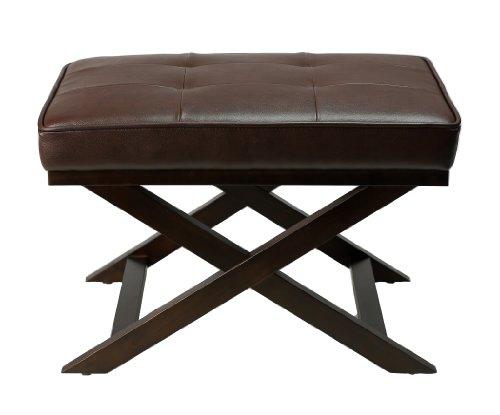 Leather Walnut Bench - 3