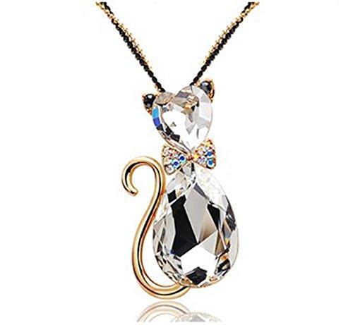Heart Cut & Teardrop Swarovski Elements Crystal Bow Tie Cat Animal Pendant Long Chain ()