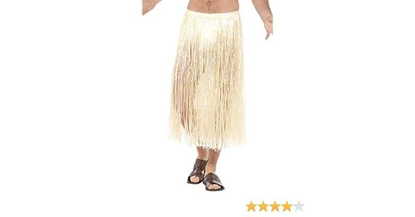 Smiffys Falda de Paja Hawaiana, Natural, con Cierre con Velcro y ...