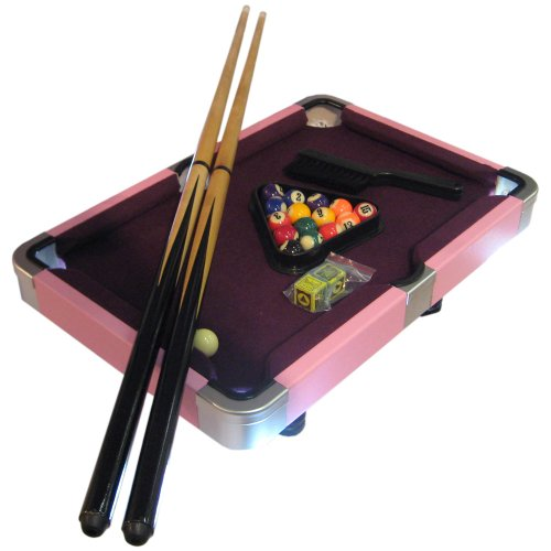 Laura Mini Purple and Pink Pool Table Game with Leatherette Case - 19