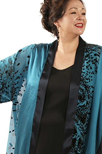 Peggy Lutz Plus Women's Tunic Length Kimono Teal Chocolate Wearable Art 1227 - (30/32)