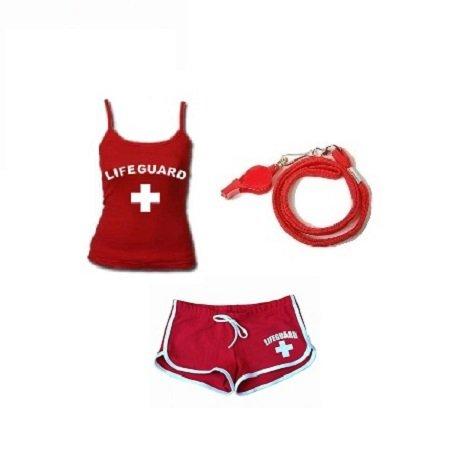 LIFEGUARD UMBRELLA - WEATHER DURABLE - RED AND - Costume Lifeguard Halloween