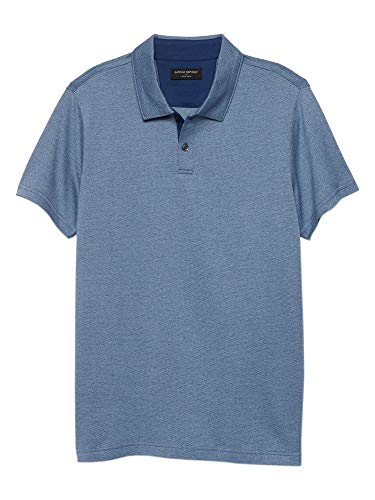 - Banana Republic Mens Two Button Cotton Textured Dress Polo Shirt Ashley Blue (X-Large)