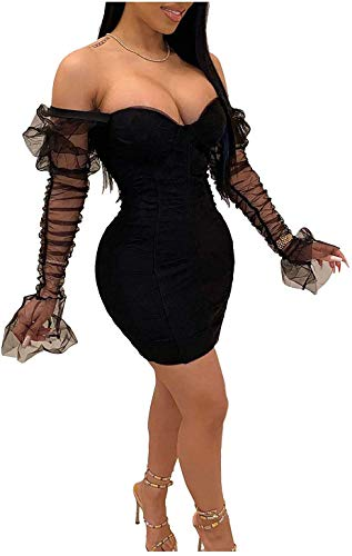 L'VOW Sexy See-Through Mesh Sheer Puff Long Sleeve Club Dress Bodycon Party Clubwear for Women