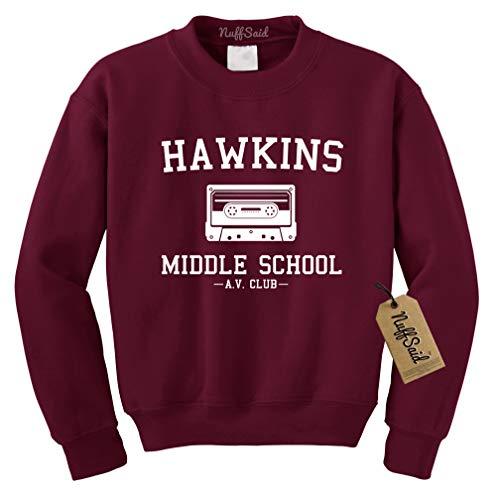 NuffSaid Hawkins Middle School AV Club Crewneck Sweatshirt Sweater - Unisex Crew Fit (Small, Maroon - White Ink)