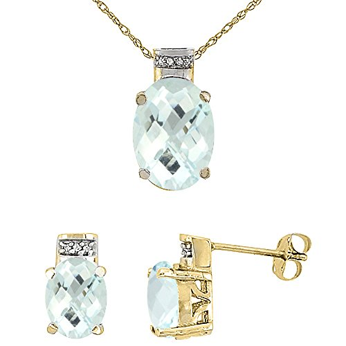 10K Yellow Gold Diamond Natural Aquamarine Earring Necklace Set Oval 8x6mm & 14x10mm, 18 inch long