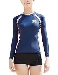 DIVE & SAIL Women's UPF 50+ Long Sleeve Rash Guard with Bikini Bottoms Set